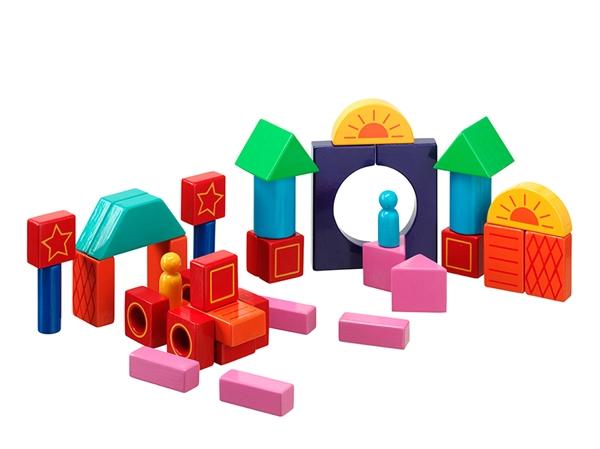 Byggklossar färgade