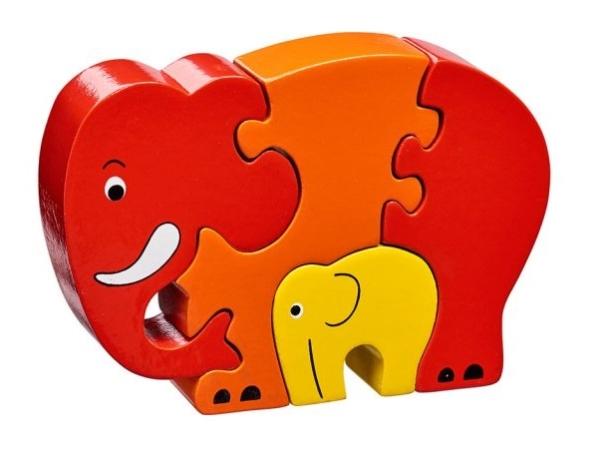 Pusseldjur Elefant med unge