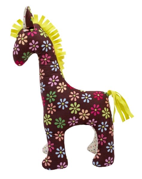 Häst,brun blommig